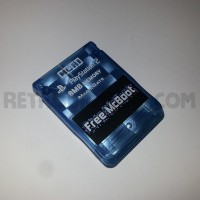 Free McBoot Memory Card - Metallic Clear Blue Hori - PS2